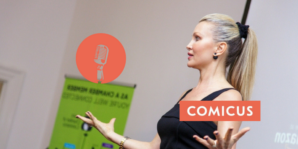 Caprice Does The Business For Female Speakers!